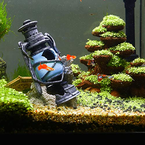 boxtech Poly Resin Lighthouse Aquarium Decoration - Artificial Decor Lamp House Baby Fish Hiding Fun Tank Aqurium Ornament Landscaping