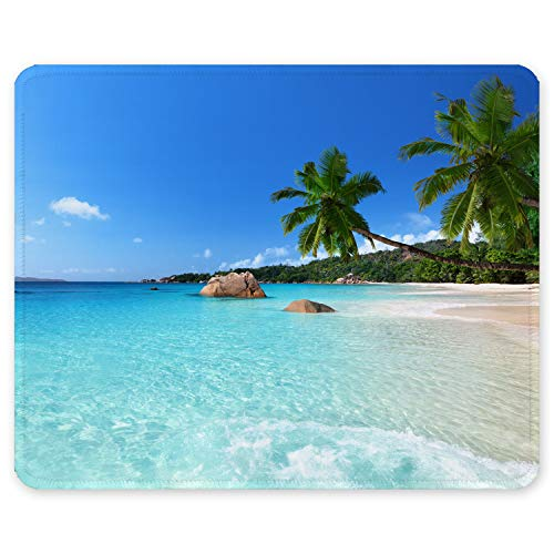 Auhoahsil Mouse Pad, Square Beach Style Anti-Slip Rubber Mousepad with Durable Stitched Edges for Gaming Office Laptop Computer PC Men Women Kids, Cute Custom Pattern, Beach and Coconut Trees Design