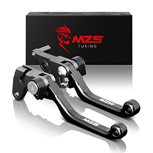 MZS CNC Pivot Brake Clutch Levers Compatible with Suzuki DR200S 2015-2019 | DR250R 1996-2000 | DRZ400S DRZ400SM 2000-2017 | DJEBEL250XC 1998-2007 Black