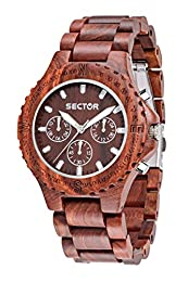 SECTOR NO LIMITS NO.: R3253478003; NATURE CONTEMPORARY QUADRANTE MARRONE; BRACCIALE IN SANDALO ROSSO VERSIONE MULTIFUNZIONE; VETRO MINERALE CASSA IN ACCIAIO; NO RESISTENZA ACQUA QUARZO; DIA 44 MM