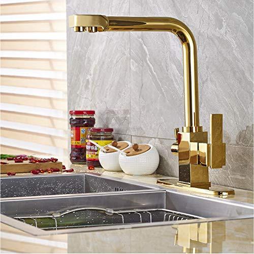 LLLYZZ nieuwe aankomst messing goud afwerking keukenkraan mengkraan puur water uitloop deck gemonteerd