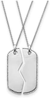 925 Sterling Silver Military Dog Tag For Two 18 Inch Chain Necklaces Necklace Pendant Charm Inspirational Fine Jewelry For Women
