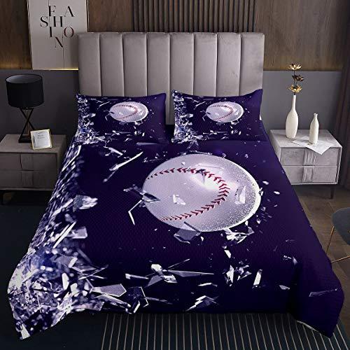 Colcha de béisbol con temática deportiva para niños y niñas 3D Chic Ball Pattern Juego de edredón de juegos de béisbol con diseño geométrico acolchado dormitorio 3 piezas tamaño King