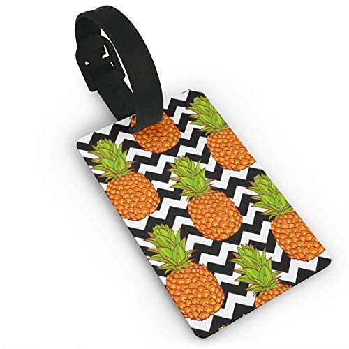 liang4268 Kofferanhänger Tropical Pineapples Pattern Luggage Tag Travel ID Bag Tag for Men\'s Women\'s Baby Strollers Name ID Labels for Baggage Suitcase Tags Bulk
