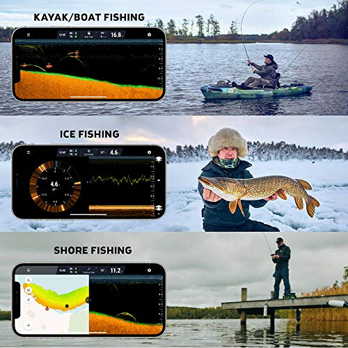 Deeper PRO+ Smart Sonar Castable and Portable WiFi Fish Finder with Gps for Kayaks and Boats on Shore Ice Fishing Fish Finder