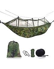 Ufanore ハンモック 蚊帳付き アウトドア 収納袋付き 幅広 軽量 カラビナ付き 吊りテント 2人用 270×140cm 耐荷重約300kg 折畳み ハイキング 公園 登山用 野外 持ち運び簡単