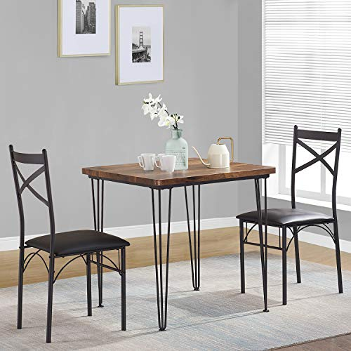 VECELO Dining Set Industrial Style 3 Pieces Kitchen Wood Table 2 Chairs with Metal Legs,Retro Brown and Black