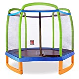 Pure Fun 7ft Kids Trampoline with Safety Enclosure and Tic Tac Toe,...
