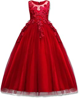 Girl Embroidery Pageant Party Dress Kids Prom Ball Gown