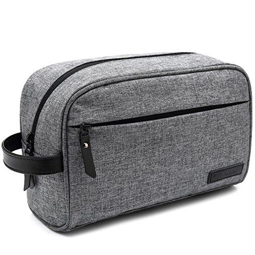 Mens Toiletry Bag Dopp Kit Travel Bathroom Bag Shaving Shower Cosmetic Organizer Gray