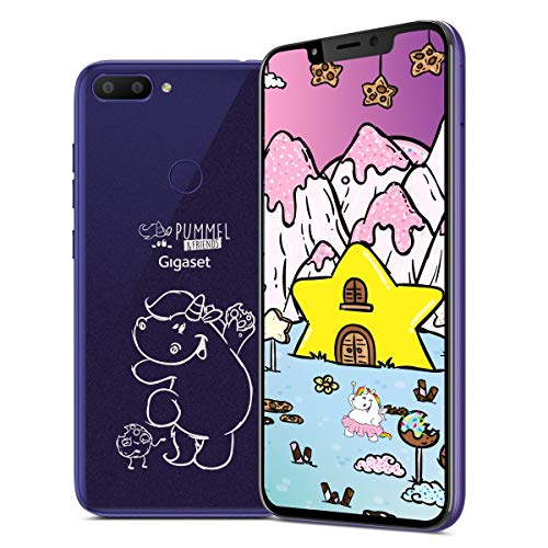 Gigaset GS195 Pummeleinhorn Smartphone mit 2GB Arbeitsspeicher Made in Germany - Handy ohne Vertrag (6,18 Zoll V-Notch Full HD+ Bildschirm, 32GB Speicher, Android 9.0 Pie), Dark Purple