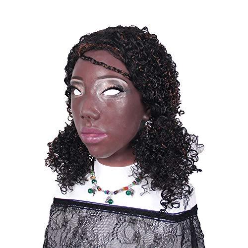 Ajusen Handgemacht Schwarz Mädchen Silikon Maske Engel Gesicht für Crossdresser Transgender Halloween Kostüme