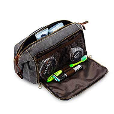 DOPP Kit Mens Toiletry Travel Bag YKK Zipper Canvas & Leather (Large, Grey)