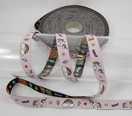 Einhorn, rosa, Farbenmix, Webband, nähen, Meterware, 1meter