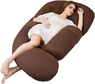 YSXZM Maternity Pillow, Brown U Shaped Full Body Nursing Pillow Pregnancy Pillow, Pregnancy Back Support with Replaceable and Washable Cover