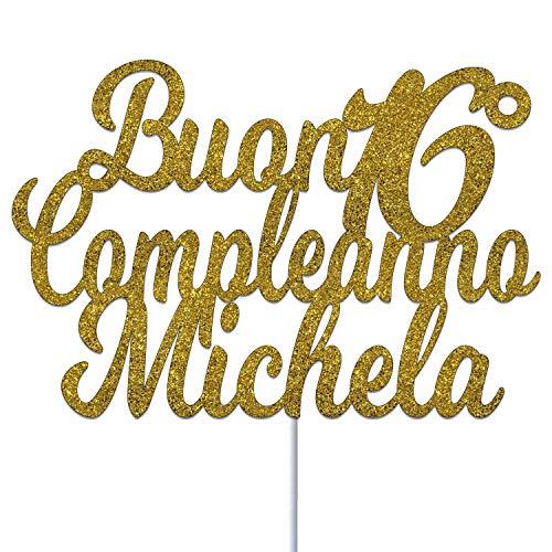 Qualsiasi Età E Qualsiasi Nome Compleanno Personalizzato Topper Di Torta Di Carta Glitter Cake Topper Di Compleanno Di Scintillio Di Buon Compleanno