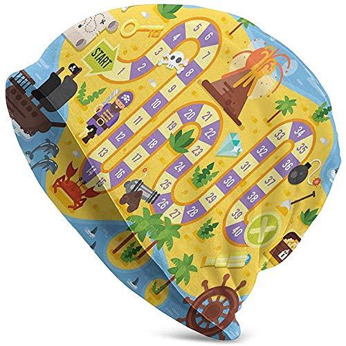 WCUTE Sombrero Adulto Gorrita Tejida Sombreros de Punto Gorra de Calavera, Encontrar el Tesoro del Pirata Estilo de Juego de Mesa Estilo Mapa Colorido de la Isla