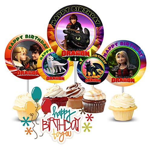 Crafting Mania LLC. 12 How to Train You Dragon Hidden World Birthday Inspired Party Cupcake Toppers #1