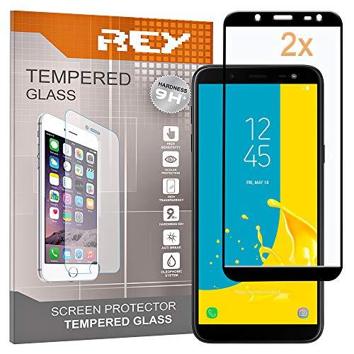 REY 2X Protector de Pantalla 3D para Samsung Galaxy J6 2018, Negro, Protección Completa, 3D / 4D / 5D