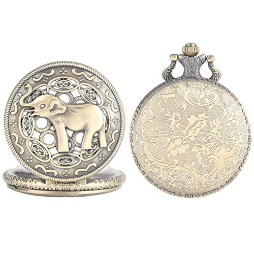 J-Love Reloj Bolsillo Retro, Reloj Bolsillo Vintage Cuarzo analógico con patrón Elefante, Caja aleación, Colgante, Reloj, Cadena eslabones, Fob Retro cep saati