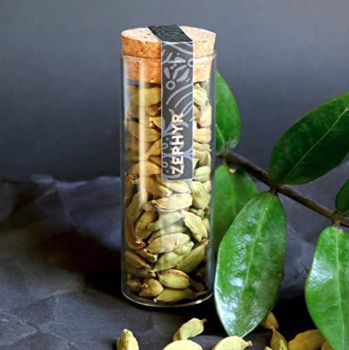 Cardamomo verde Zephyr, bacelli interi, 14 grammi, confezione ecologica, capsula in vetro riutilizzabile