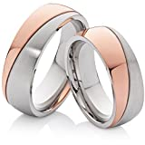 2 Eheringe Trauringe Hochzeitsringe Verlobungsringe roségold silbern aus Edelstahl & gratis Lasergravur