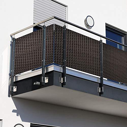 Dynamic24 Polyrattan PVC Sichtschutzmatte 300x90cm Balkon Sichtschutz Zaun Windschutz braun
