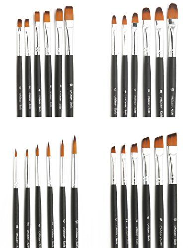 Meister Soft Pinsel 24er Pinselset in rund/flach/schräg/Zunge, insgesamt 24 Pinsel für Acryl, Aquarell