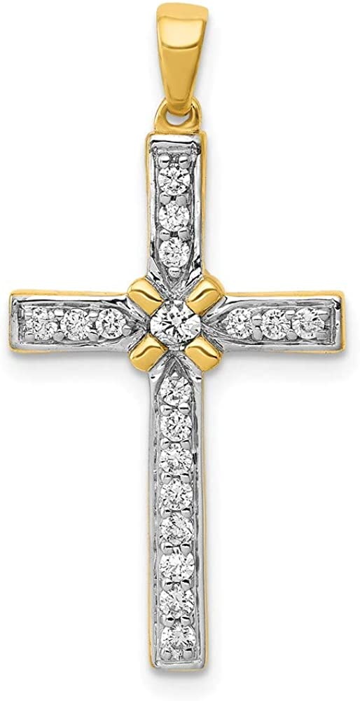 Charm Pendant 14K Yellow Gold Diamond 1 sold out 3Ct. Cross Round Outlet sale feature