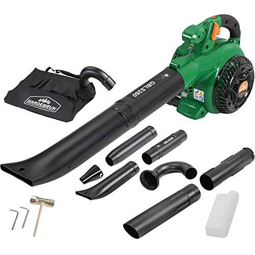 Monzana® aspirador soplador | 3 en 1 | Gasolina | 26 ccm, bolsa 45L, incluye juego de herramientas con vela Llave + Cruz atornillador | soplador de hojas