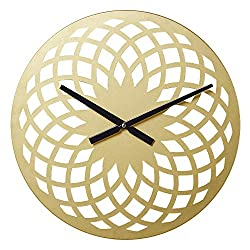 Wall Decorative Clock 15 Round Metal Silent Retro Wall Clocks for Kitchen Living Room Bedroom Office, Vintage/Country/French Style(Gold)