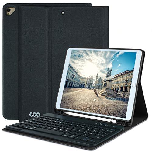 Custodia con Tastiera per iPad 10.2 per iPad 8a generazione 2020 -iPad 7a generazione 2019-iPad Air 3, custodia per iPad Pro 10.5 2017 con tastiera Bluetooth wireless rimovibile-Portapenne (nero)