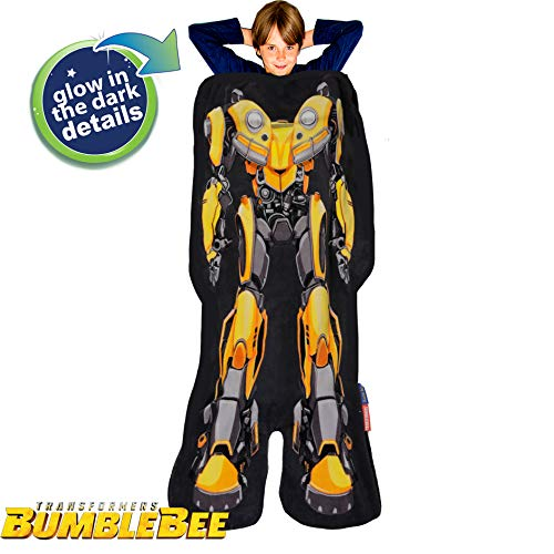 Blankie Tails Transformers Glow in The Dark Bumblebee The Movie Shaped Blanket Super Soft-Double Sided Fleece Sized for Kids- Cozy Wearable Blanket-Makes a Great Gift