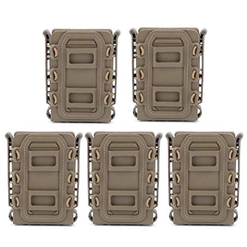 RAVPump Tactical Mag Pouch, 5Pcs WST TPR Flexible Mag Pouch Molle Fastmag for Ar15 M4 5.56 7.62 Mag