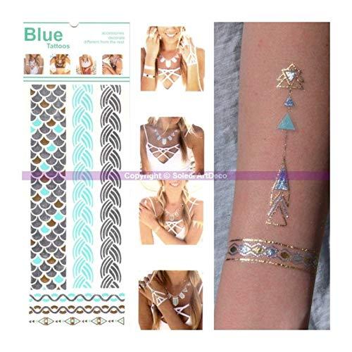 Ki-Sign Tatouage Bracelet tressé et Écailles, Planche Tattoo éphémère Or, Argent, Bleu 23 x 9 cm