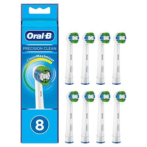 Braun Oral-B 4210201321859 Precision Clean - Testine di ricambio con setole CleanMaximiser per una pulizia ottimale, 8 pezzi