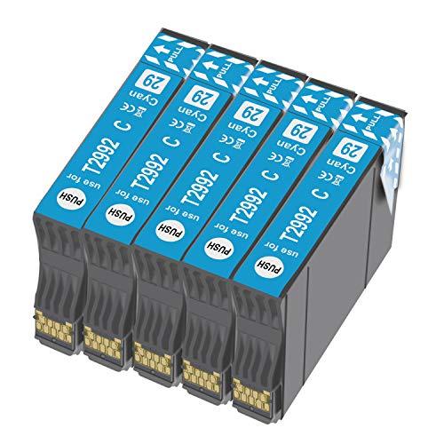 Ouguan - 5 Cartuchos de Tinta Cian compatibles con Epson 29 XL 29 para Epson XP-342 XP-442 XP-245 XP-432 XP-345 XP-247 XP-235 XP-255 XP-257 XP-352 XP-452 XP-455 XP-335 XP-332 XP-435 XP-445
