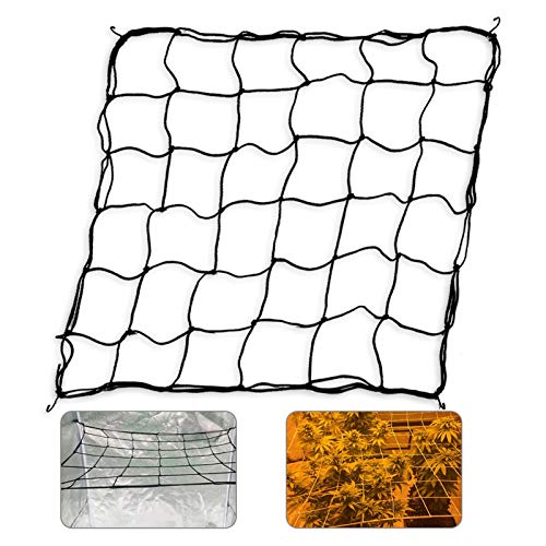 GROWNEER Flexible Net Trellis for Grow Tents Fits 4x4ft and More Size Includes 4 Steel Hooks 36 Growing Spaces