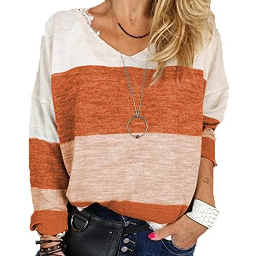 T-Shirt Frühling und Herbst Druck V-Ausschnitt Langarm Casual Top Damenbekleidung