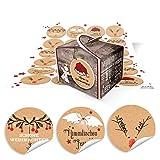 24 kleine braune Engel Geschenkschachteln Geschenkboxen 8 x 6,5 x 5,5 + 24 runde Weihnachts-Aufkleber in rot-weiß-schwarz-braun mit Grüßen … Frohe Weihnachten, Frohes Fest, … 14126...