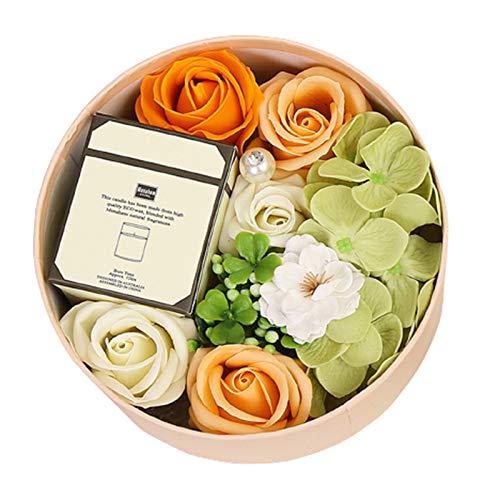 collectvoice Caixa de flores artificiais para banho de aromaterapia, rosa eterna para mulheres, meninas, mãe, aniversário, casamento, dia dos namorados, dia das mães, amarelo