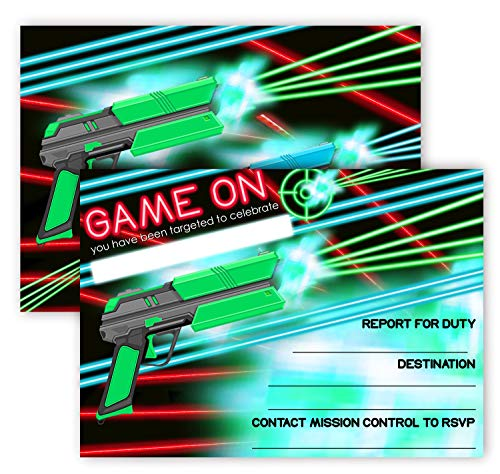 POP parties Laser Tag Brights Invitations - 12 Invitations + 12 Envelopes - Double Sided - Laser Tag Party Supplies - Laser Tag Party Supplies - 12ct...