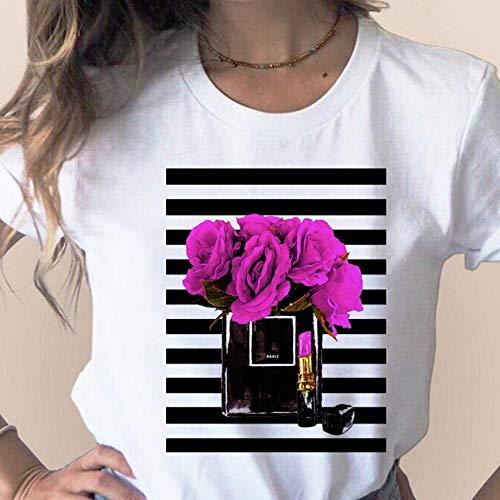 Damen T-Shirt Kleidung Print Flower Parfüm Flasche Sweet Short Sleeve Printed Frauen Shirt T Frau T-Shirt Top Casual Woman Tee-4_S