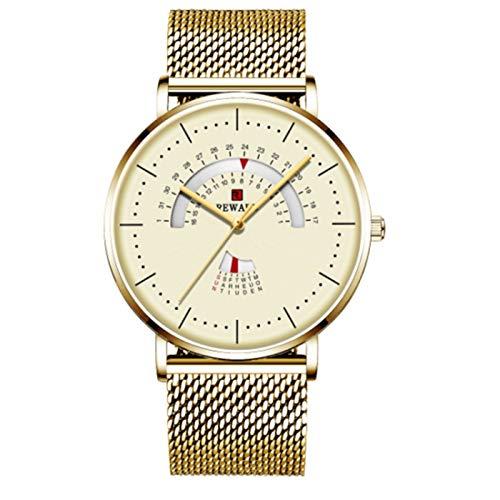 TXOZ-Q Reloj Redondo para Hombres Lujo Impermeable de Acero Inoxidable Malla de Malla Reloj Menaje de Moda Fecha de Reloj Reloj Chico (Color : Gold)