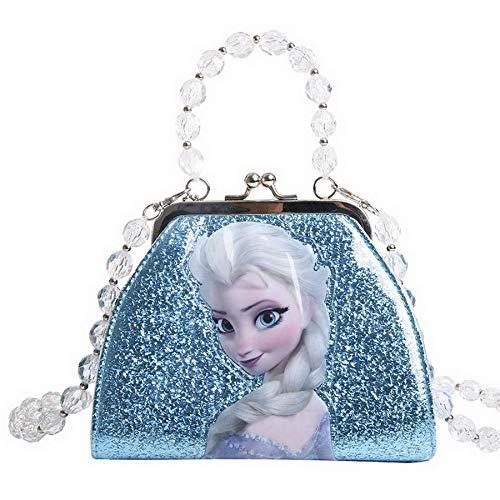 K-ONESEEYOU Elsa Tasche für Mädchen Geldbörse Glitzer-Umhängetasche Frozen 2 Eiskönigin Kinder Anna und Elsa Spielzeug (Blau Elsa B)