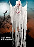 5.2ft Animated Halloween Decorations Outdoor Scary Haunted House Prop Decor Party Hanging Screaming Bride Ghost Skull with Voice Activated Scary and Flashing Eyes Creepy for Home Yard Outside indoor
