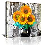 Yi Chuang Art Sunflower Decor Home Kitchen Bathroom Bedroom Country for The Home Farmhouse Cottage Countryside Wall Modern Gallery In Vase Canvas Wall Art Ready to Hang