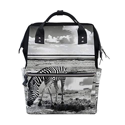 BIGJOKE Zaino per pannolini Africa con stampa zebrata multifunzione, grande capacità, borsa fasciatoio con cerniera casual elegante zaino da viaggio per mamma papà Baby Care