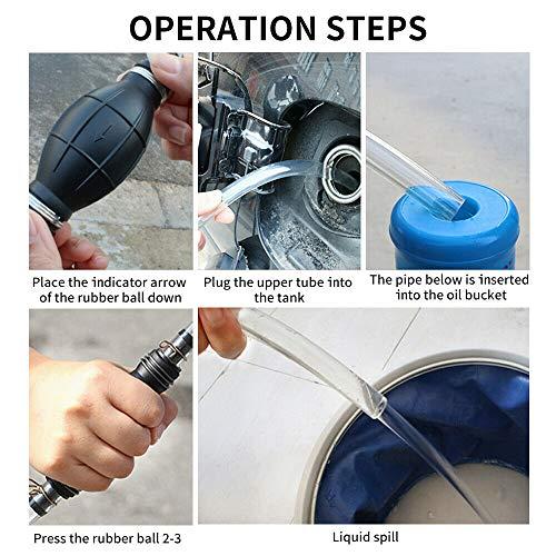TONGXU 1PCS Bomba de Succi/ón de Aceite Manual de Coche Tubo Bomba Transparente PVC de Mano para Transferencia de Combustible Gas Gasolina Gasoil L/íquida Agua