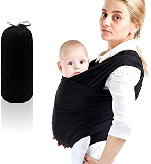 Baby Wrap Carrier Child Carrier Perfect Stretch and Flexibility for Nursing While Wearing (Black)
